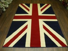 Modern Approx 8x5 160x230cm Woven Backed Union Jack Red/white/Blue Quality rugs